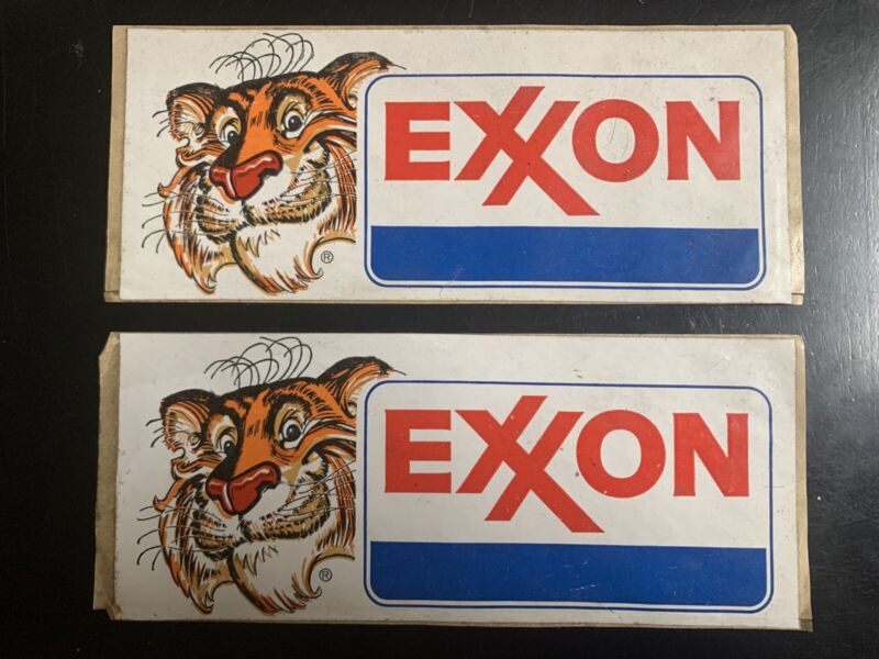 2 Vintage Exxon Gas Bumper Stickers : Still Usable ( Light Wear from drawer )