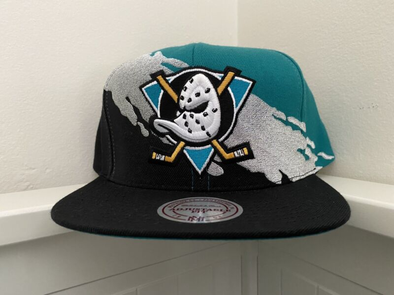 Mitchell And Ness Retro Anaheim Mighty Ducks Paint Brush Teal Black Snapback Hat