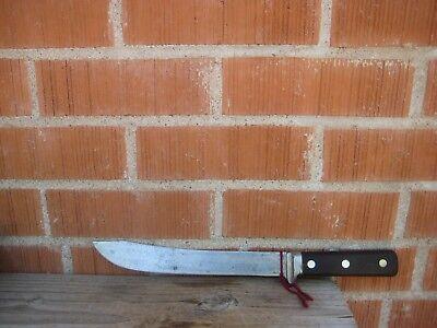 """Vintage 10"""" Blade *** KEEN KUTTER *** XL Carbon Butcher Knife USA"""