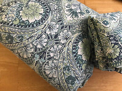 POTTERY BARN King Duvet Set, Green Damask Cotton with 2 Euro Shams