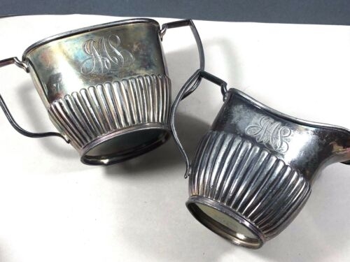 ANTIQUE WEBSTER WILCOX CO SILVER PLATE GILT CREAMER & SUGAR BOWL