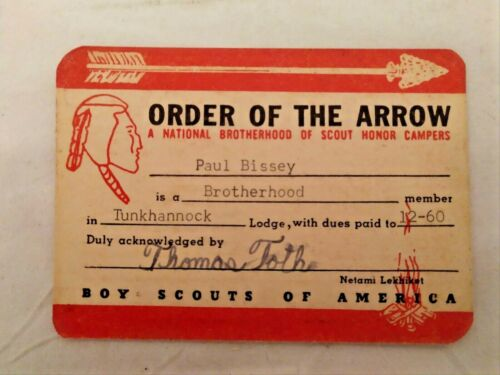 1960 Boy Scout Order Of The Arrow CARD ONLY