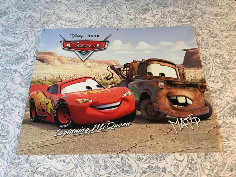 Disney Pixar cars lightning McQueen and Mater Metal tin decorative poster Sign