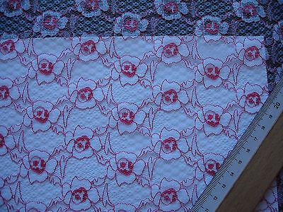 1 Laufmeter feine Spitze  2,50€/m²  weiß, rot CL13