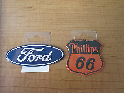 2  Phillips 66 Gas Oil   Ford Oval Dealer Metal Toolbox Mancave Magnets