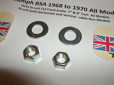 TRIUMPH BSA TLS TWIN LEADING BRAKE CAM NUTS 14 0303  SPACERS S26 6 P