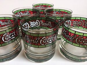 Set of 6 Vintage Stained Glass Tiffany Style Tumblers