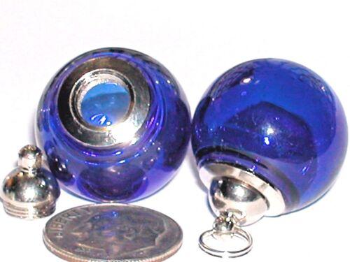 Wide Mouth Glass Crystal Ball Bottle fairy Locket vial Screw top Globe Orb DK BL