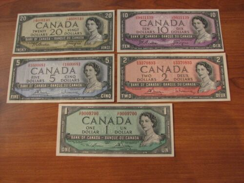 Bank note 1954 $20 $10 $5 $2 $1 Bank of Canada