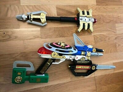 Power Ranger Zeo swords and gold ranger staff vintage roll play toys rare ](Toy Swords And Guns)