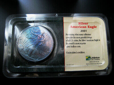 2001 AMERICAN SILVER EAGLE CHOICE UNC BU COIN***((COLORFUL TONING))***