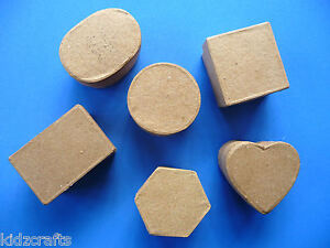 Paper-Mache-Trinket-Boxes-Square-Hexagon-Circle-Oval-Rectangle-Heart-5x3cm-PK-6