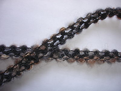 5m Posamentenborte 0,50€/m schwarz, grau 1,3cm breit K10.8