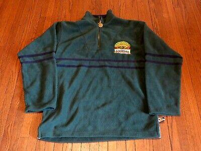 Men's VTG Walt Disney Animal Kingdom Dark Green Pullover Fleece Jacket sz S Dark Green Jacket Fleece