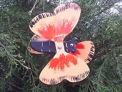Orange Windmill - Butterfly Orange Mini Whirligigs Whirligig Windmill Yard Art Hand from wood
