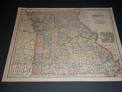 1892  MISSOURI Antique color state map original authentic