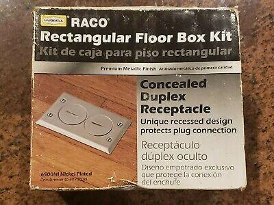 Raco Hubbell 6500ni-5 1 Gang Rectangular Electrical Floor Box Kit Satin Nickel