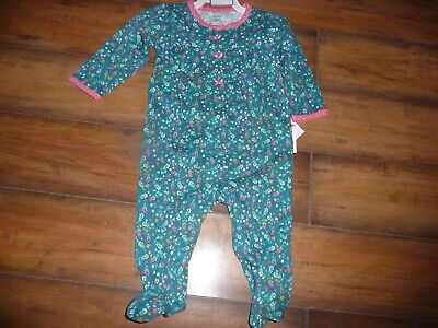 NEW NWT Carters girls size 6 months beautiful green floral sleeper pajamas
