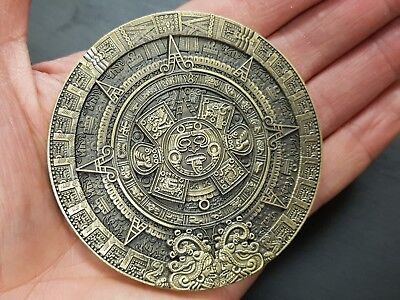 Mayan Prophecy Calendar Giant Jumbo Coin Medal Solid Heavy Bronze Aztec Pyramid
