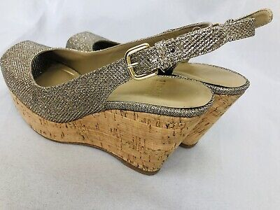 Stuart Weitzman size 5 M metallic gold slingback wedge open toe shoes sandal