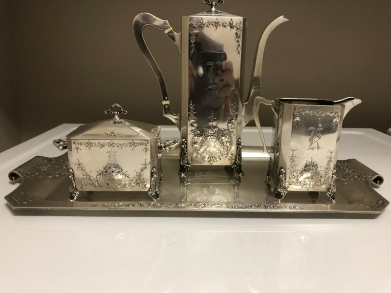 International Sterling Coffee Set With Tray Exceptional