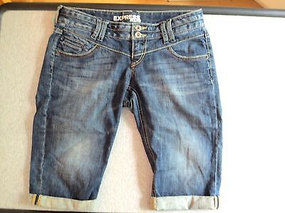 Express Denim Shorts Long Bermuda  Distressed Cuffs  Size 2  NWOT #C33