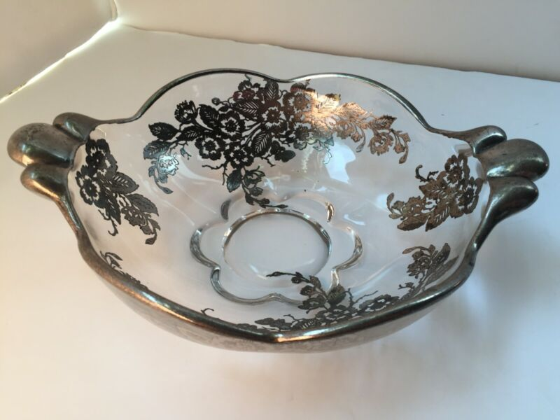 Vintage Small Glass Bowl Candy Dish with Silver Overlay Filigree Floral Butter