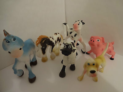 FARM ANIMALS CAKE TOPPERS 6 PLASTIC FIGURES BRAND NEW FREE P+P