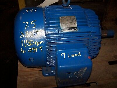 Westinghouse 7.5 Hp Ac Electric Motor 230460 Vac 254t Frame 1150 Rpm Te 3 Phase