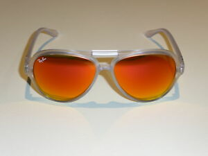 Ray Ban Clear Framed Cats 5000 Sunglasses with Orange Lenses