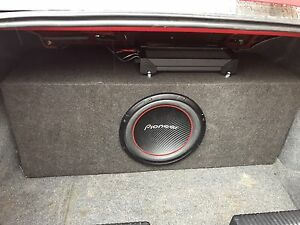 "Pioneer 12"" sub with dual channel amp"