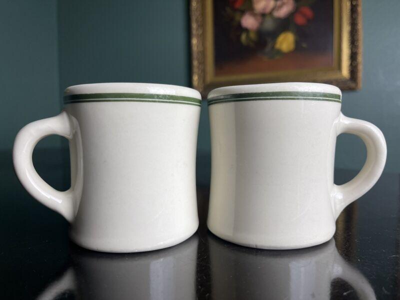 2 VICTOR Green Stripe Vtg Restaurant Ware Diner Coffee Mugs Made in USA  Heavy!