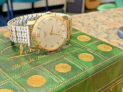 1958 Longines 14k Gold Mens Wind Up Wristwatch - Cigarette Box & Manual Exc Cond