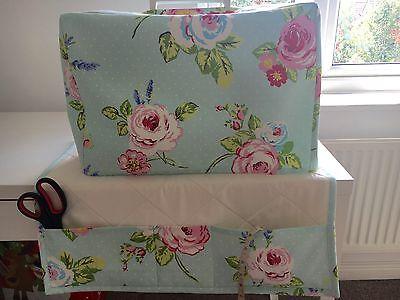 ❤️Clarke & Clarke❤️EnglishRoseSeafoam  Fabric Sewing Machine Cover&Matching Mat