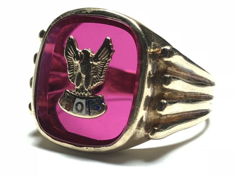 Vintage Men's 10K Yellow Gold FOE Fraternal Order of Eagles Ring - Size 8.5