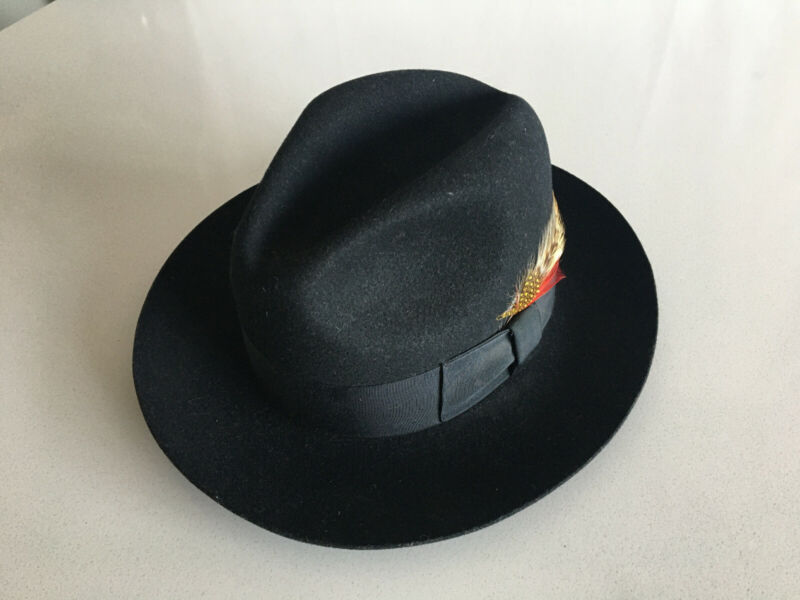Bailey Fedora Hat 100% Wool, Feathers - Black, Size Small