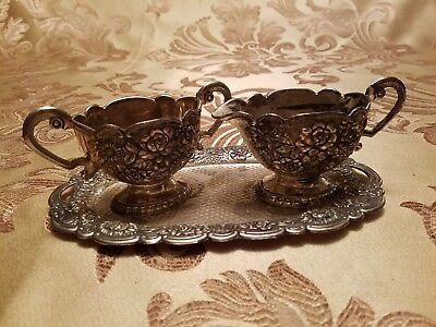 Ornate Floral Creamer Sugar Bowl & Under Tray Set