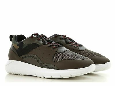 Hogan INTERACTIVE3 Men's sneakers shoes in camouflage fabric and green leather