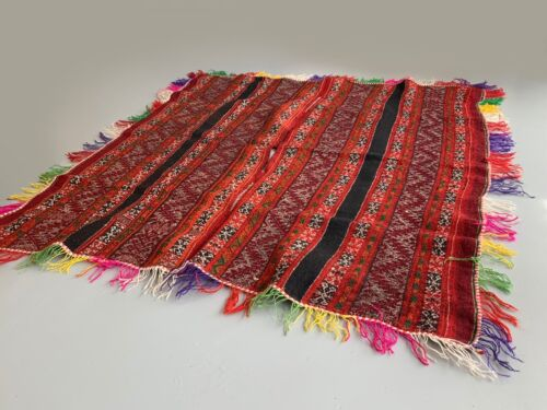 "Vintage Fringed Poncho from Pisac, Peru  50"" x 39"" (item 7160)"