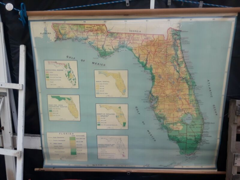 """Vintage A.J. Nystrom Pull Down Classroom MAP of FLORIDA USA Wall Map  62"""" X 54"""""""