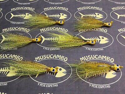 3//8 oz Popeye dressed jigs FOR SALTWATER USE WHITE BUCK TAIL