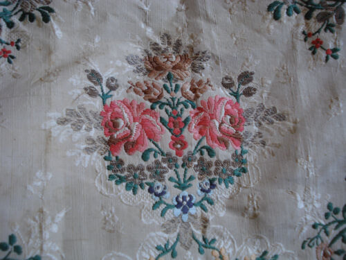 "antique french silk + silver brocade from 18 th c robe pink roses  39"" x 20"" (1)"