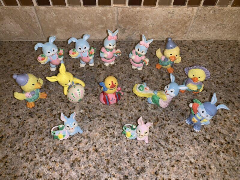 Vintage Mccrory Easter CHICK Bunny Figurine figures Decor Basket Filler #0799
