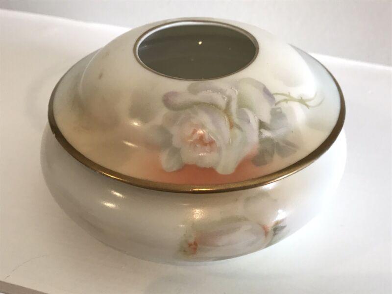 Hair Receiver Vanity Dish, ES Prussia green crown bird mark, White Roses, 1930