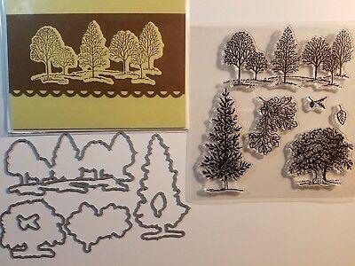 LOVELY AS A TREE Framelits Dies + stamps + handmade card - landscape acorn leaf