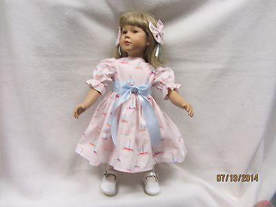 "LITTLE SAILBOATS on pink dress & TWO matching bow barrettes fits 23"" My Twinn"