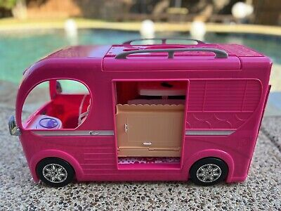 Barbie Dream Camper Van Pop up Motor Home Playset MATTEL 2014 RV ALL ACCESSORIES