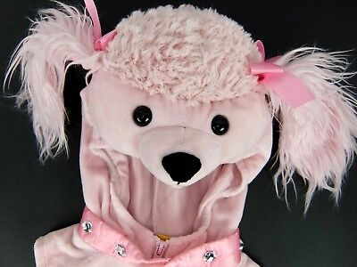 Baby Poodle Costume (Baby Girls Dog Costume Pink Poodle 1 Piece Vest w/Hood Shoe Cover Size 6-9)