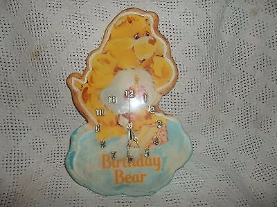 Wooden Care bear Birthday Clock- Rare! Bin H