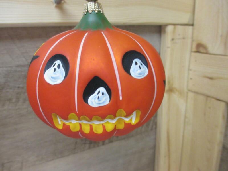 "KF7681 4"" Vaillancourt Pumpkin Halloween Jack-O-Lantern Face ORNAMENT"